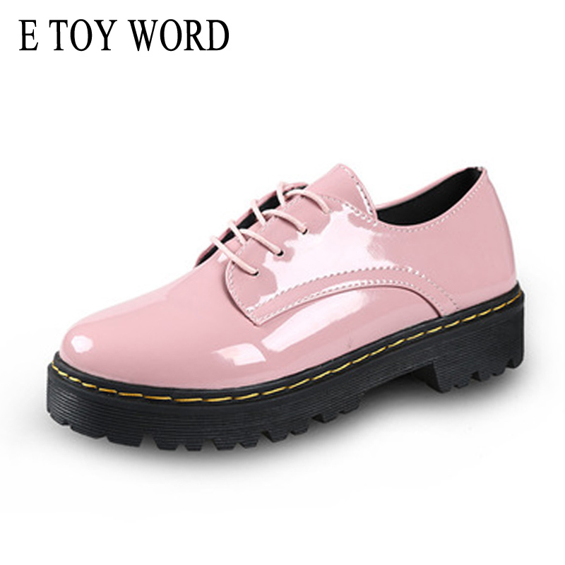 E TOY WORD Patent Leather Women's Pumps Low-heeled Autumn Shoes Women Lace-Up round toe Creepers Fashion Platform Shoes Female e toy word canvas shoes women han edition 2017 spring cowboy increased thick soles casual shoes female side zip jeans blue 35 40