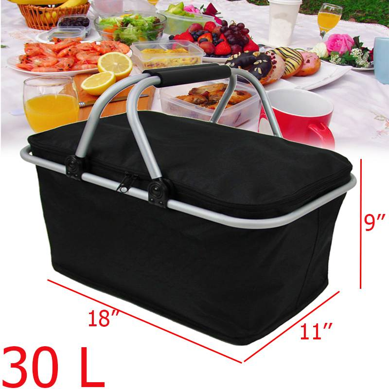 Basket Storage-Box Cooler Hamper Lunch-Bag Folding Outdoor Picnic Black Insulated Camping