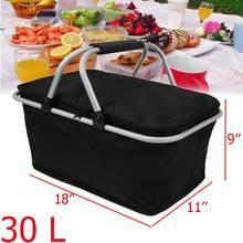 30L складная сумка для пикника кемпинга походная изолированная сумка для ланча Корзина для пикника на открытом воздухе охлаждающая корзина переносная коробка для хранения черный
