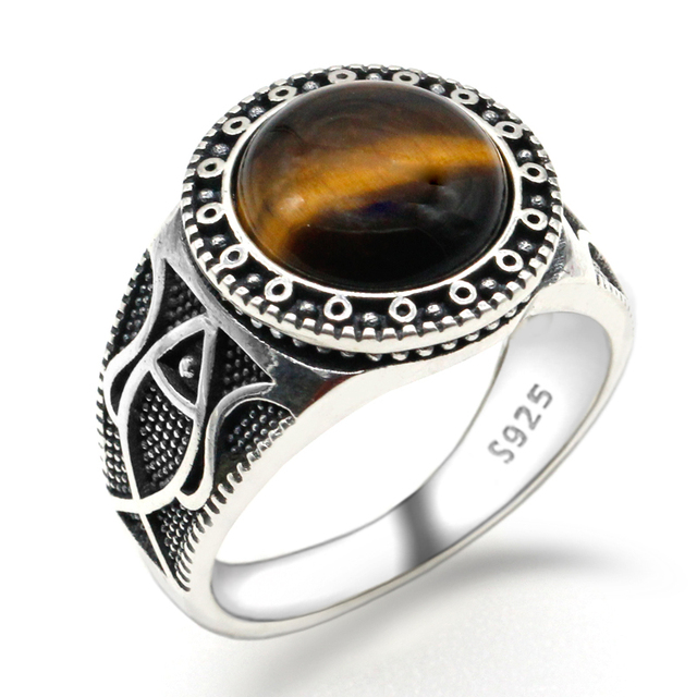 Real Pure 925 Sterling Silver Antique Turkish Rings For Men With Stone Tiger Eyes Onyx Colorful Punk Rock Jewelry