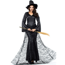 Umorden Black Mist Witch Adult Costume Sorceress Cosplay Long Dress Halloween Party Carnival Costumes