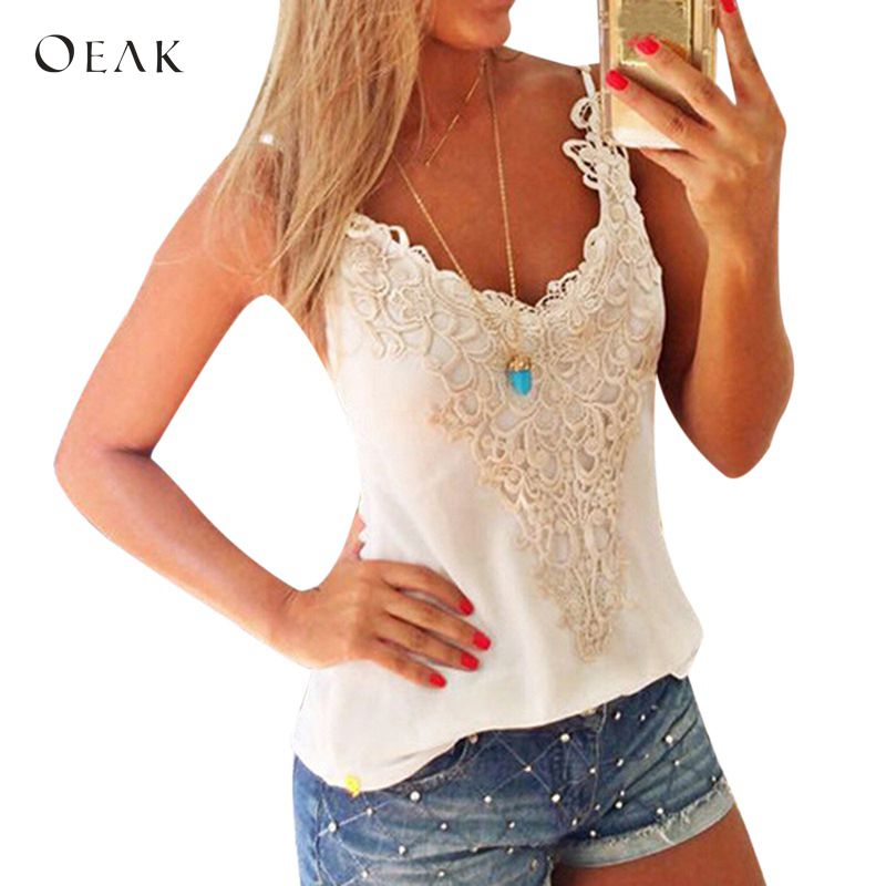 OEAK 2018 Summer Lace   Tank     Tops   Women Sleeveless V-Neck Casual Slim Vest   Top   Female Sexy Outer Wear Shirt White Camis Tees