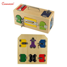 Daily Life Toy Games Montessori Locks Exercise Box Board Training Materials Wood Educational Toys Home Preschool Child PR102-30