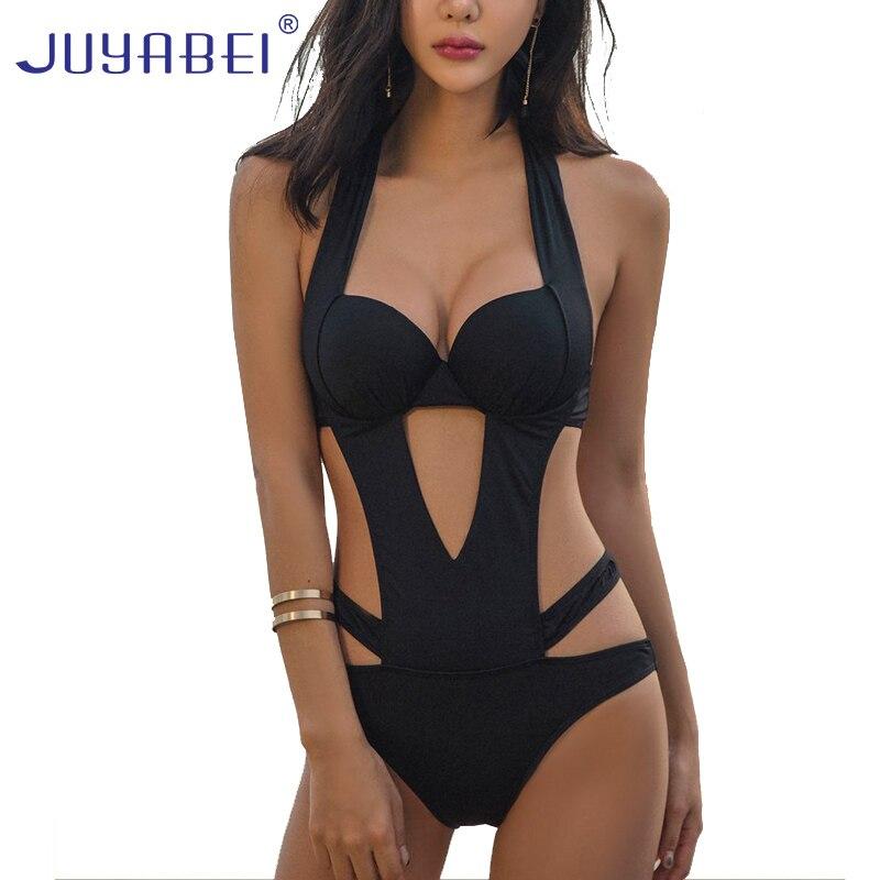 JUYABEI Black Sexy Trikinis Mujer 2018 One Piece Swimsuit Women Push Up Swimwear Bandage Bathing Suit Maillot De Bain Femme