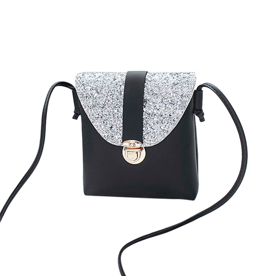 New Style Women Fashion Solid Color Crossbody Bags Lock Sequins Crossbody Bag PU Leathe Shoulder Bag Flap Cover Messenger Bag S