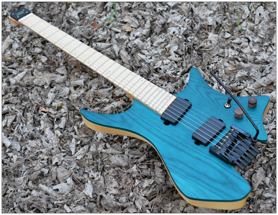 Fanned Fret guitars Headless guitar style Model Blue ASH wood Color Flame maple Neck in stock Guitar free shipping