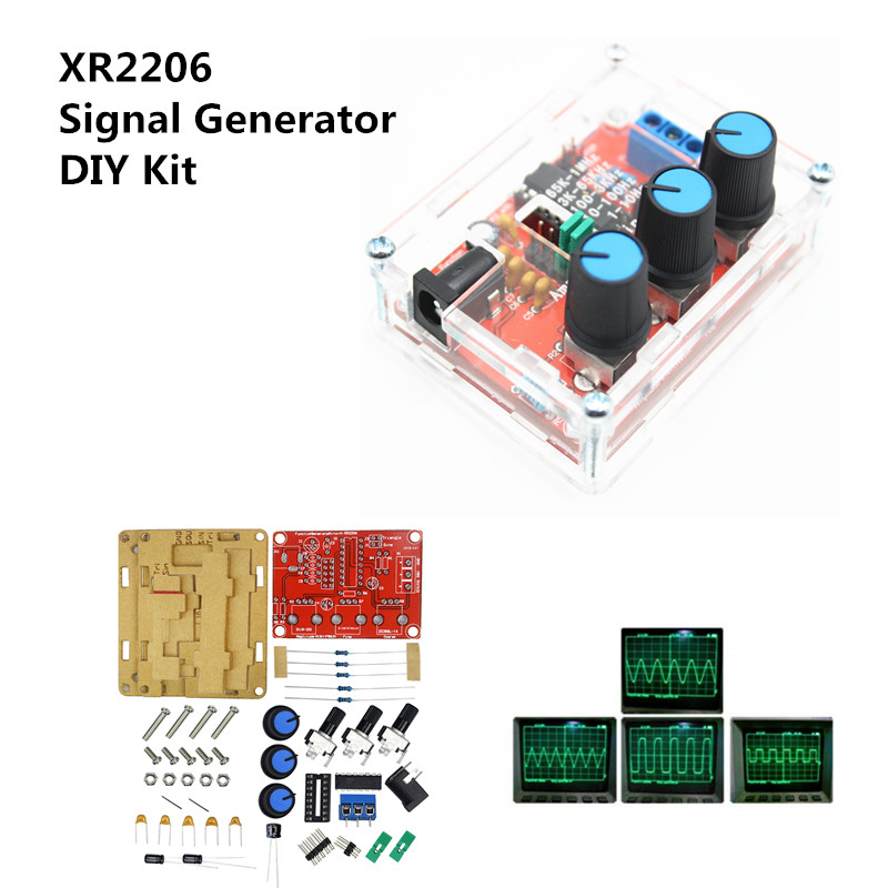 Function Signal Generator DIY Kit Sine/Triangle/Square Output 1Hz-1MHz Signal Generator Adjustable Frequency Amplitude XR2206(China)