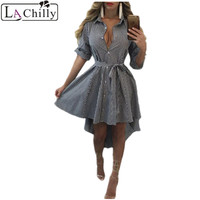 La Chilly Fall Dress Winter Dresses Women 2017 Robe Hiver Black White Plaid High Low Casual