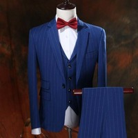 Tailored made new wool four seasons Korean blue striped Slim Business suit three piece sets of men wedding suits