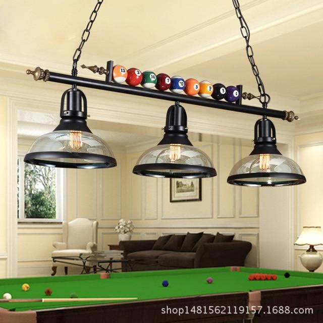 modern billiards iron pendant light  glass iron dining room coffee shop bedroom restaurant  hanging lighting