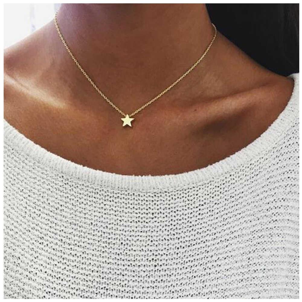 女性ゴールドシルバーメッキスモールハートネックレスのビジュー首輪ファッションジュエリー鎖骨ペンダントネックレス