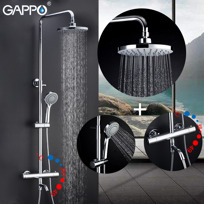 GAPPO shower faucet system thermostatic mixer taps shower water mixer Rainfall bathroom shower wall mounted bathtub faucetsGAPPO shower faucet system thermostatic mixer taps shower water mixer Rainfall bathroom shower wall mounted bathtub faucets