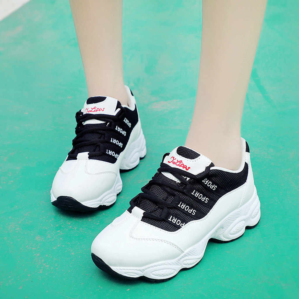 YOUYEDIAN Sneakers Women 2018 Fashion Breathable Patform Women Sneakers  Black White Women Casual Shoes Chaussures Femme e860047f3af7
