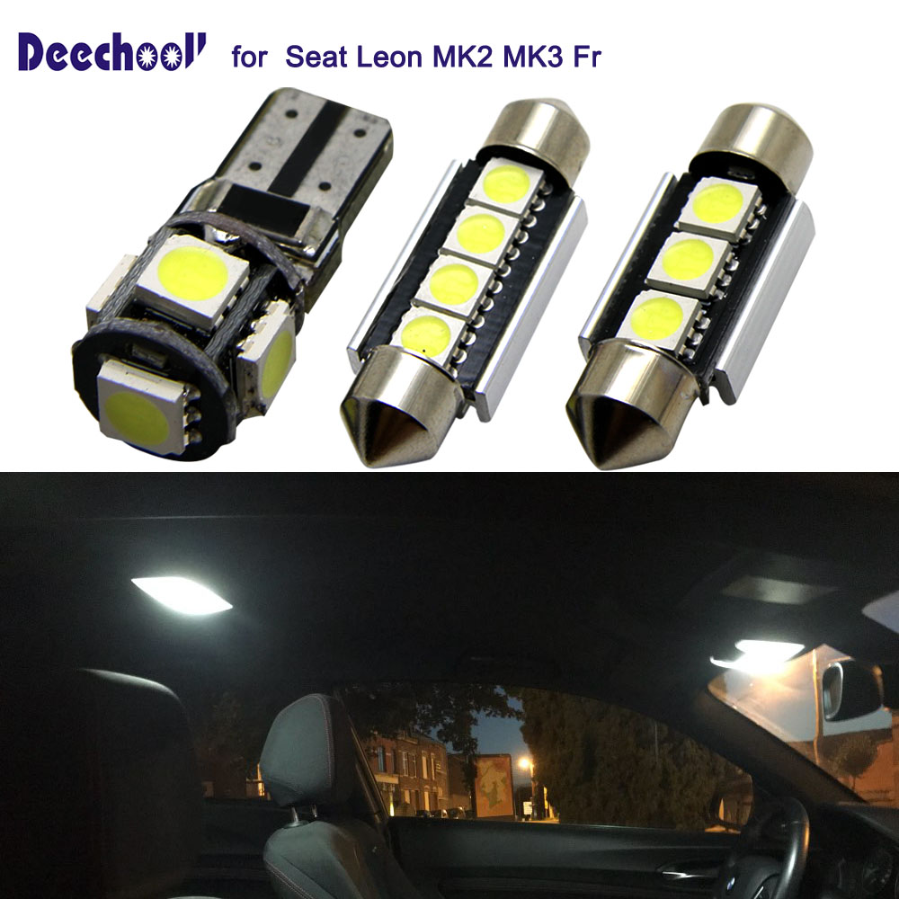 Led Auto Verlichting Us 14 30 Off Deechooll 12 Pcs Led Auto Lampen Voor Seat Leon Mk2 Mk3 Fr Wit Interieur Verlichting Lamp Voor Seat Leon 1 P 5f Dome Leeslampjes In