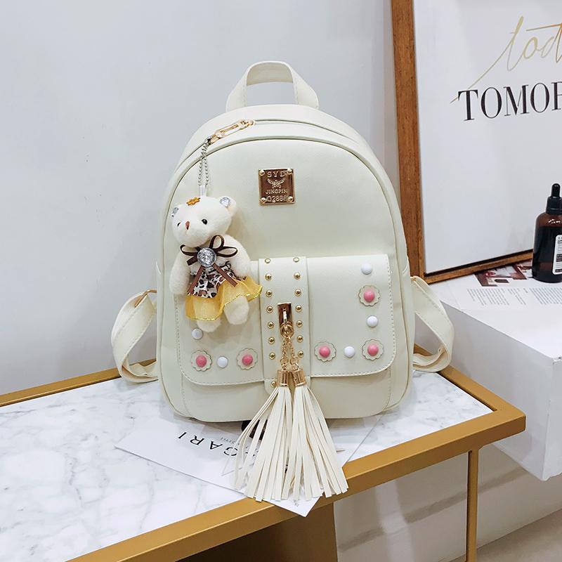Backpack Female 3 Piece Combination Composite Bag Bear Hanging Inlaid Imitation Diamond Tassel Fashion Casual Shoulder Bag 49