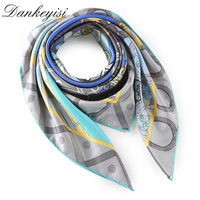 DANKEYISI New Square Pure Silk Scarf Luxury Brand Wraps Hand Rolled Edge Fashion Women Scarf Hijab Designer Head Neck Scarf