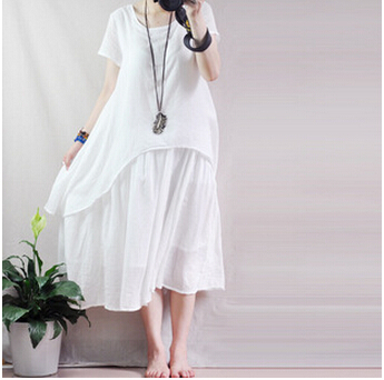 2017 new summer vintage fake two piece cotton dress loose