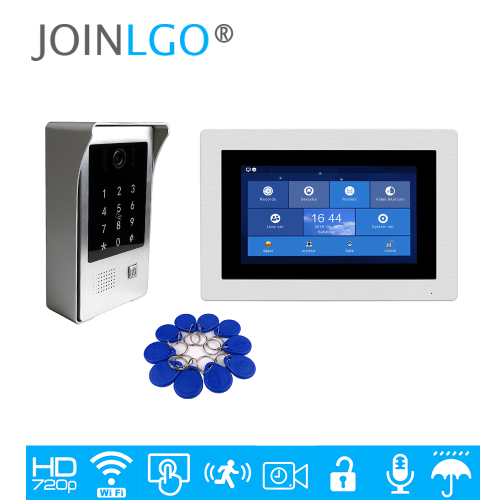 Free Shipping 720P WIFI IP 7 Touch Screen Video Intercom Door Phone Recording Kit Phone Remote