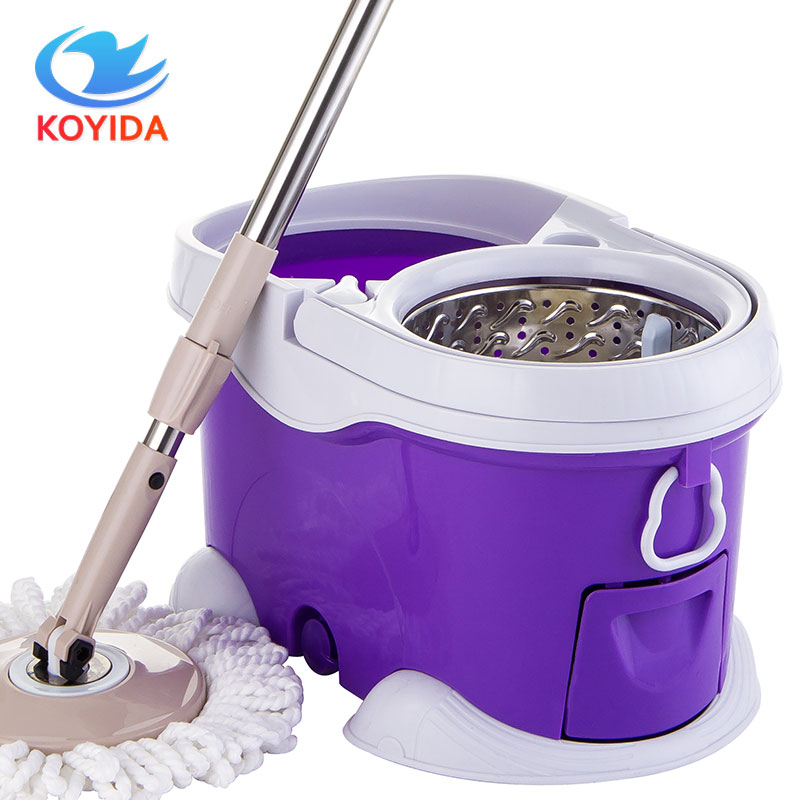 KOYIDA Magic Spin <font><b>Mop</b></font> Bucket Stainless Steel <font><b>Mops</b></font> 360 Degree Rotating <font><b>Mop</b></font> Double Drive Household Cleaning Set <font><b>Mop</b></font> for Floor