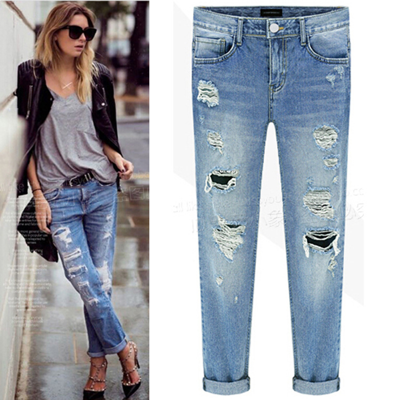 Jeans Hearty Women Boy Friend Jeans With Holes Elasitc Waist Straight Denim Girls Ankle Length Ripped Jeans For Women Plus Size