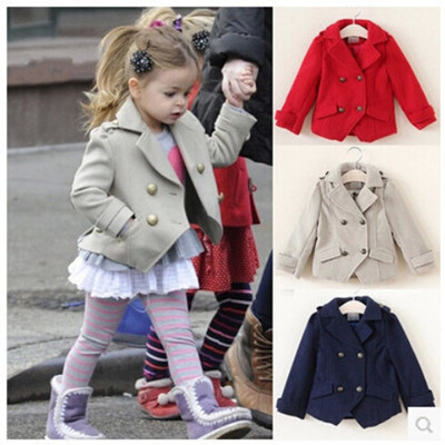 New Girls Coats Jackets Autumn Winter Toddler Girls Warm Double ...