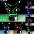 Toy Gift Pokemon Series pikachu 7 Colors 3D LED Night Light Table Lamp Xmas Gift