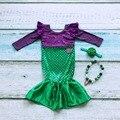 Девушки бутик русалка блестками платье партии одежды устанавливает детский Костюм одежды с соответствующими лук и ожерелье костюм