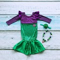 girls boutique mermaid trumpet sequins dress party clothing sets children's Costume clothes with matching bow and necklace suit