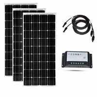 Kit Pannello Solare 100w 12v 3 Pcs Solar Regolatore di Carica 12 v/24 v 20A Cavo di PV panneau Solaire 300 w Tetto Rv Camper Caravan Auto