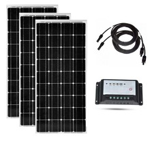 Kit Solar Panel 100w 12v 3 Pcs Solar Charge Controller 12v/24v 20A PV Cable Panneau Solaire 300 w Rv Roof Motorhome Caravan Car