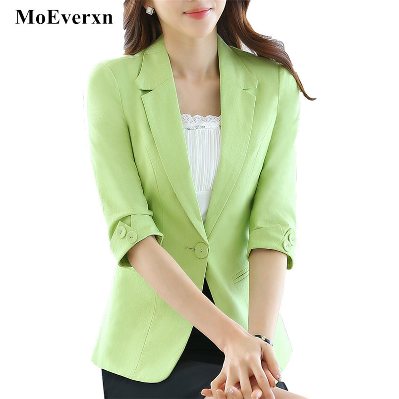 Women Candy Color Half Sleeve Blazer Feminino Casual Work Office One Button Jacket Blaze ...