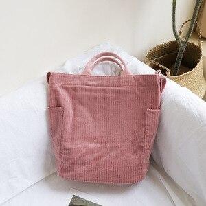 Image 2 - Femmes velours côtelé sac à bandoulière grande capacité tissu sac à main fourre tout femme bandoulière sacs de messager dames Simple toile sac à main avec fermeture éclair