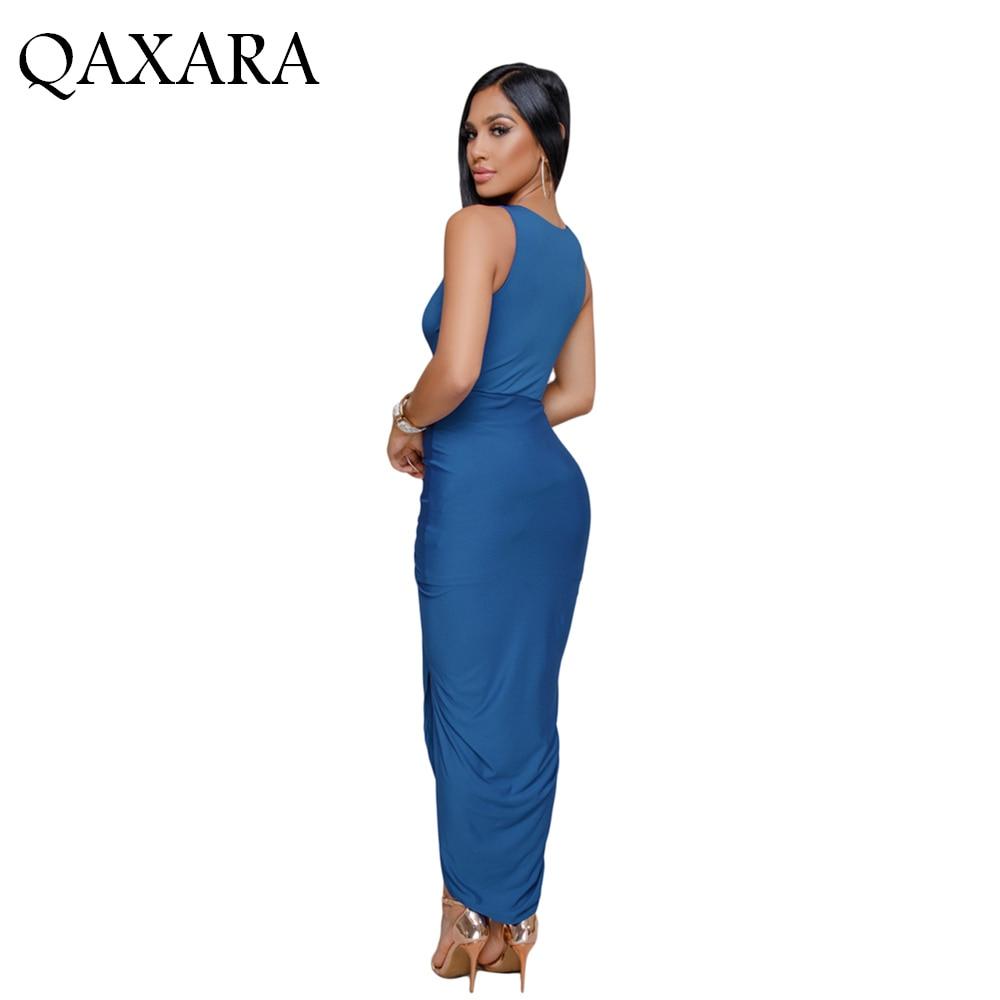 3cdb6cdb54b Royal Blue Black Crisscross V Neck Sleeveless Elegantly Style Maxi Jersey  Dress Draped Detail Casual Chic Long Stylish and Soft -in Dresses from  Women's ...