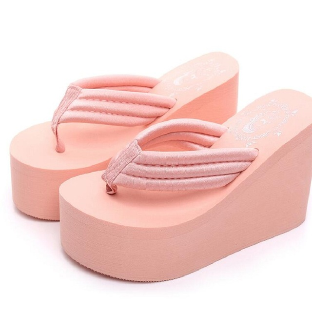 2017 New Arrival Women Chunky Sandals High Heels Wedges Flip Flops Lady Pure Color Water Taiwan Summer Shoes Plus Size 40 41