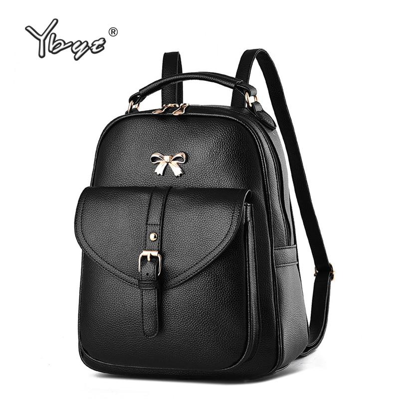 Черный консервативный стиль лук рюкзак кольцо Женщины покупки мобильный кошелек Bookbags дамы путешествия Ofertas сумки школьные рюкзаки