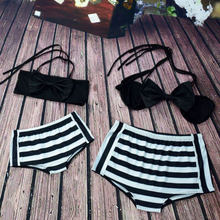 Mother Daughter Summer Swimming Sets Bikini Stripe Family Matching Swimsuit 2pcs Europe&America Beach Clothes for Woman Girl