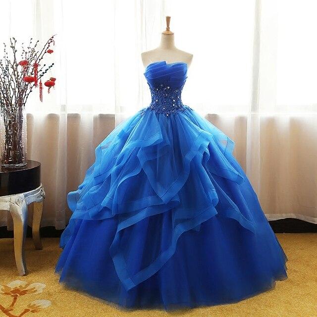 acaf577db4a Ball Gown Quinceanera Dresses Royal Blue Strapless Appliques lace Floor  Length Orange Ruffles vestido de debutante