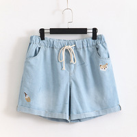 2018 Fashion Women S Jeans Summer Embroidery Pattern High Waist Stretch Denim Shorts Loose Casual Women