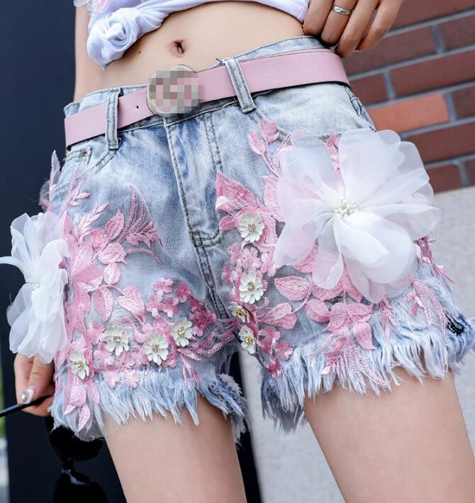 Women's Korean Fashion Summer Flower Embroidery Shorts Female Sexy Tassel Wide Leg Jeans Plus Size Short Pants TB635
