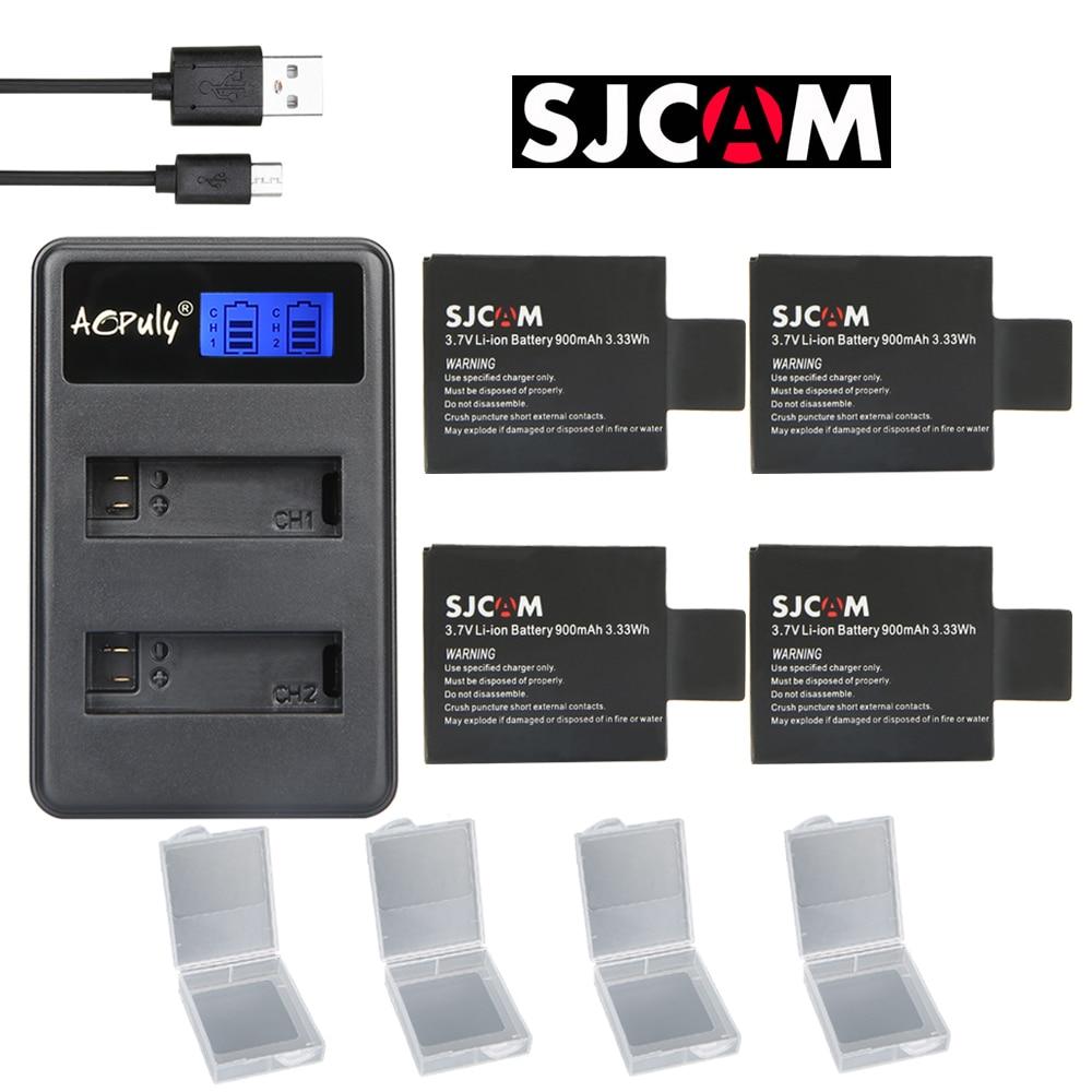AOPULY 4pc SJCAM sj4000 battery USB LCD Dual charger bateria sj7000 sj5000 sj6000 sj8000 SJ M10