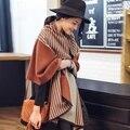 2016 de la moda de invierno bufanda de cachemira mujeres de la marca de lujo bufandas de rayas señora Diseñador de lana caliente poncho chales y bufandas echarpe