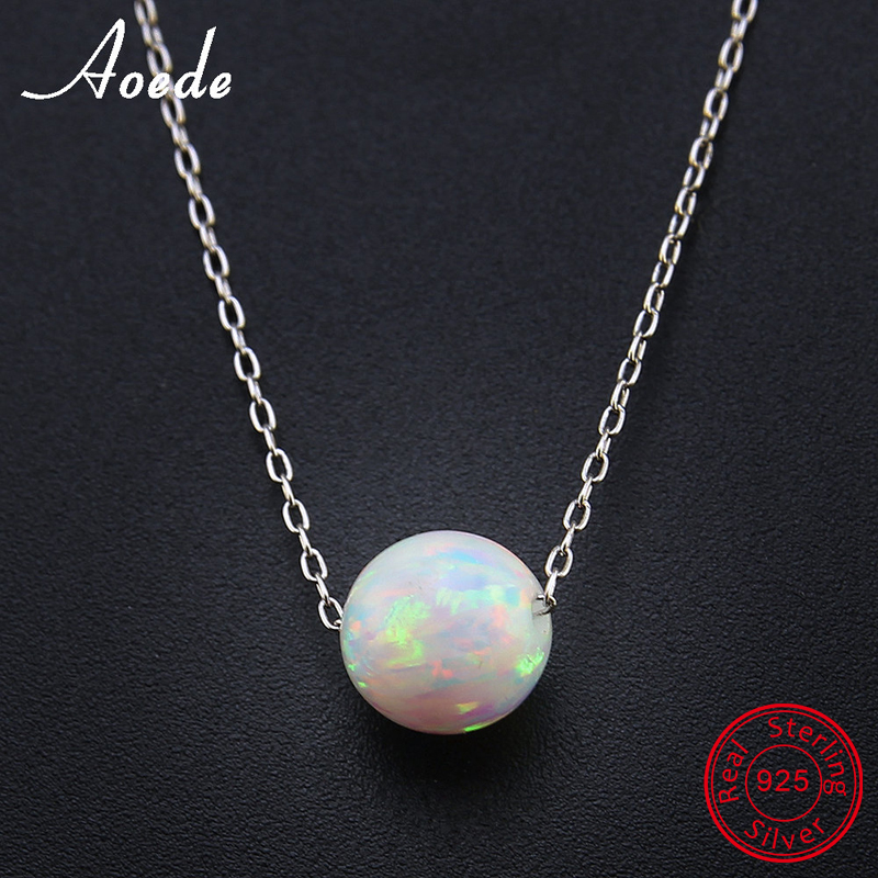 White Fire Opal Necklace Pendants For Women 925 Sterling Silver Necklace Elegant Natural Stone Ball Fashion Jewelry Gift Collier