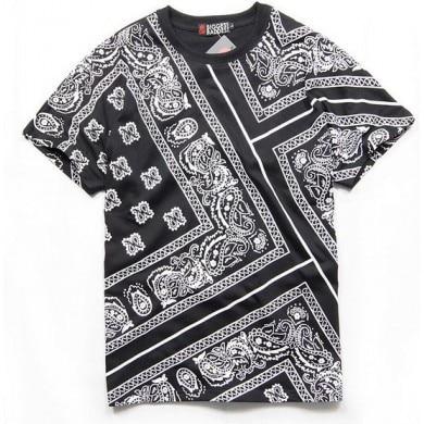 Paisley Bandana Print T Shirt Bloods Crips Black White Red In T
