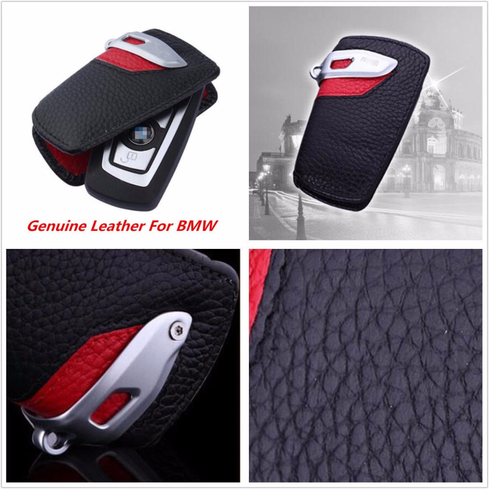 Sport Line Genuine Leather Key Case Bag Cover FOB Holder For BMW 2 3 5 Series X3