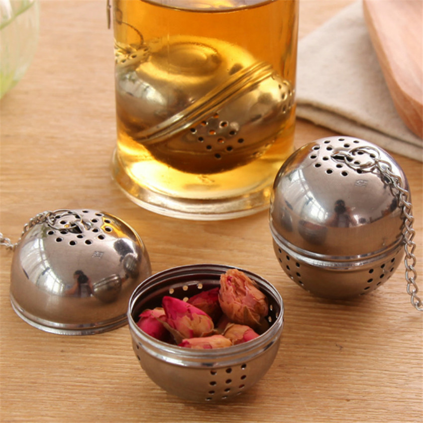 Tea Infuser Ball Strainer MESH-FILTER Rope-Chain Leaf Kitchen-Tools Stainless-Steel Home