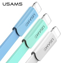USAMS USB Cable for iPhone 8 cable Data Sync Flat Cable for iPhone X 8 7 6 6s 5s Cord 2A Fast Charging cable for ipad Light wire(China)
