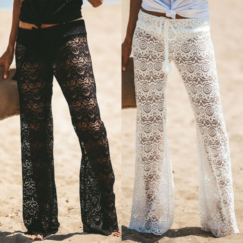 Women Beach Cover Up New Knit Bikini Cover Up Lace Hollow out Swimwear Ruffle Flare Pants High Waist Trousers See Through Pants