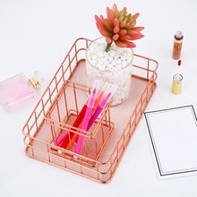 Rectangle Metal Storage Basket Rose Gold Iron Desktop Home Garden Office Sundries Finishing Baskets