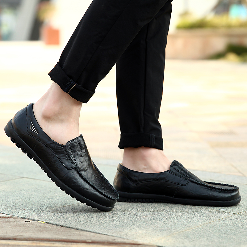 HTB18PVvazzuK1RjSspeq6ziHVXaB Genuine Leather Men Casual Shoes Luxury Brand Mens Loafers Moccasins Breathable Slip on Black Driving Shoes Plus Size 37-47