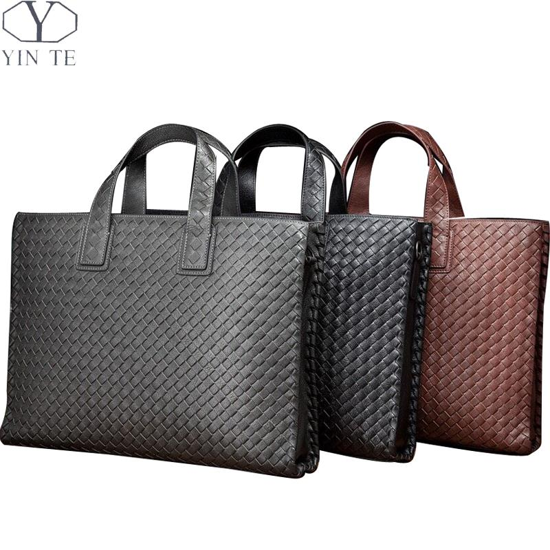 f5fe1cb89ec3 YINTE Casual Handbags Genuine Leather Unisex Briefcase Fashion Messenger  Shoulder Bag Woven Totes Leisure Bag Portfolio T4163 1-in Totes from Luggage    Bags